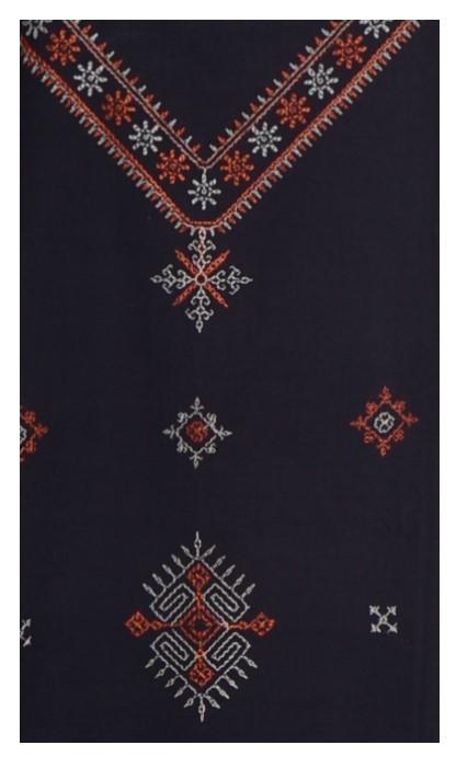Kasuti Embroidered Pure Cotton Dress Material Black Orange : Picture