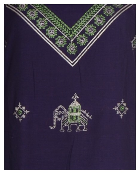 Kasuti Embroidered Pure Cotton Dress Material Violet Green : Picture