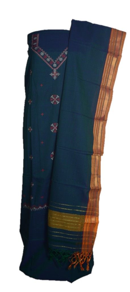 Kasuti Embroidered Pure Cotton Dress Material Deep SeaGreen Red : Details