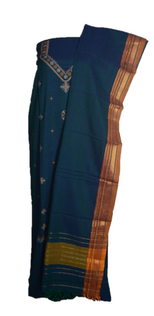 Kasuti Embroidered Pure Cotton Dress Material Deep SeaGreen Yellow : Details
