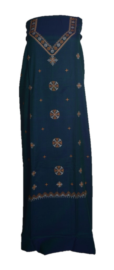 Kasuti Embroidered Pure Cotton Dress Material Deep SeaGreen Yellow : Picture