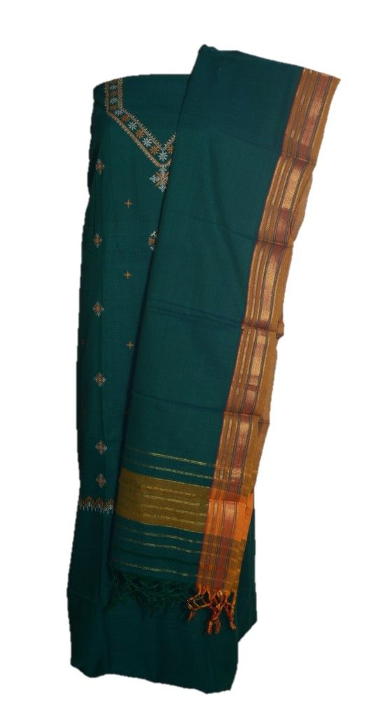 Kasuti Embroidered Pure Cotton Dress Material Deep Green Yellow : Details