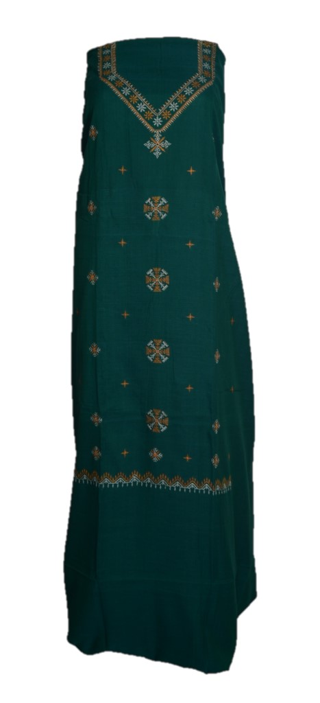 Kasuti Embroidered Pure Cotton Dress Material Deep Green Yellow : Picture
