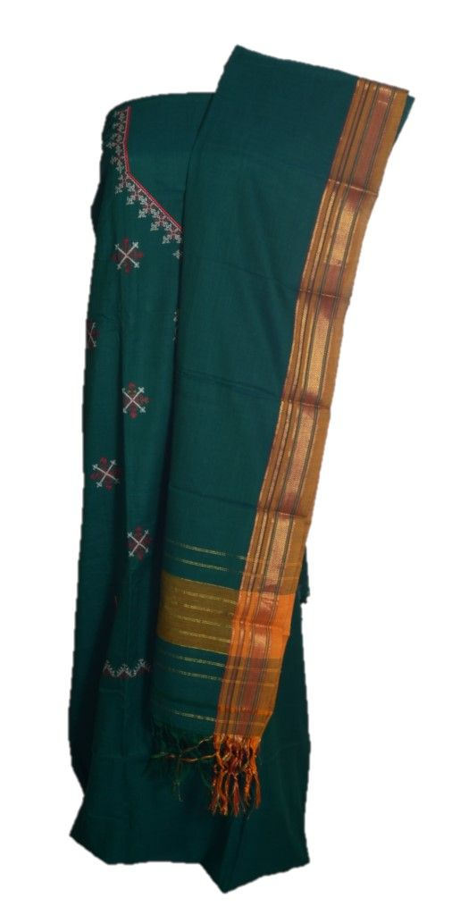 Kasuti Embroidered Pure Cotton Dress Material Deep Green Red : Details