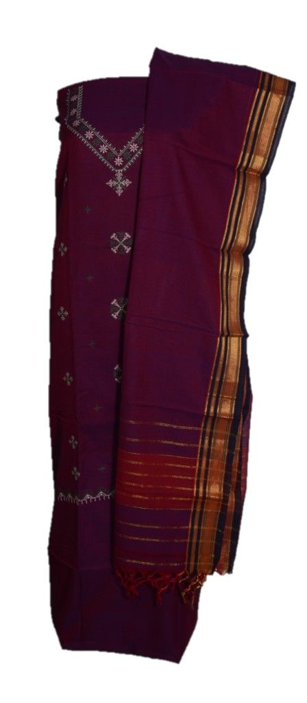 Kasuti Embroidered Pure Cotton Dress Material Deep Purple Green : Details