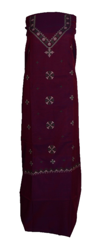 Kasuti Embroidered Pure Cotton Dress Material Deep Purple Green : Picture