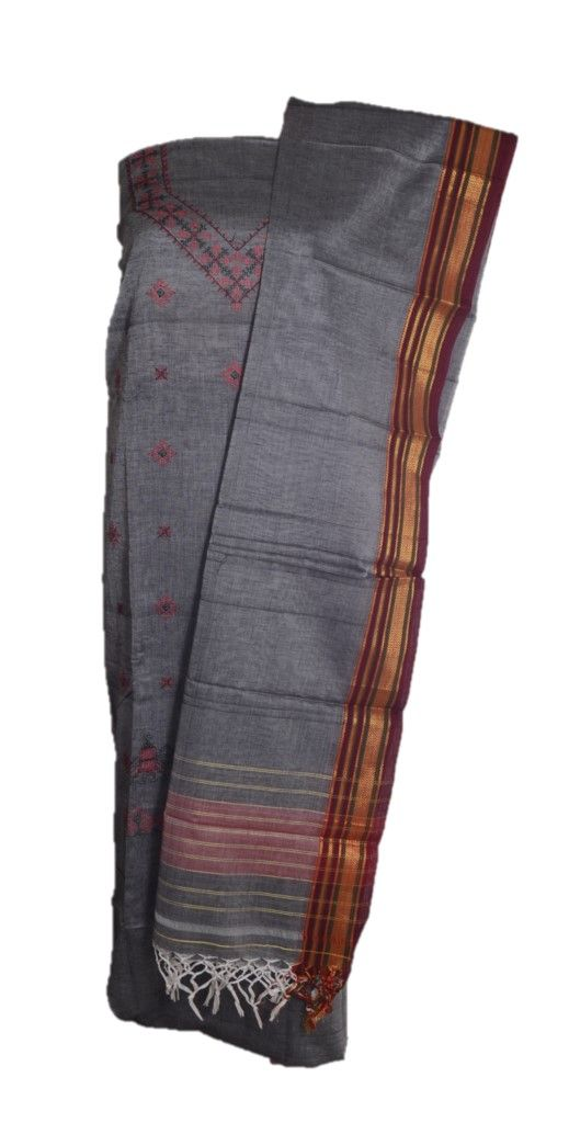 Kasuti Embroidered Pure Cotton Dress Material Grey Red : Details