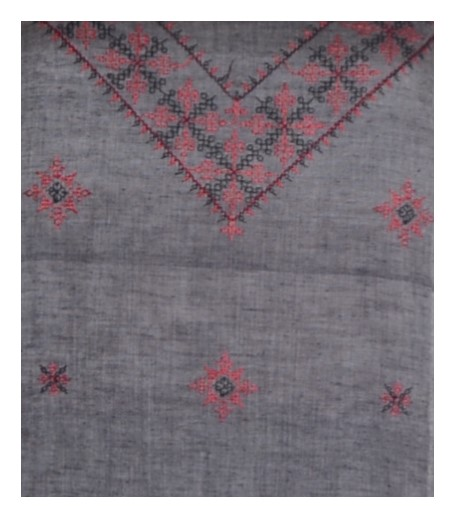 Kasuti Embroidered Pure Cotton Dress Material Grey Red : Picture