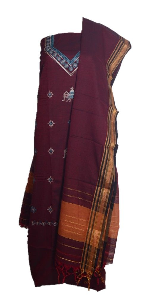 Kasuti Embroidered Pure Cotton Dress Material Dark Maroon : Details