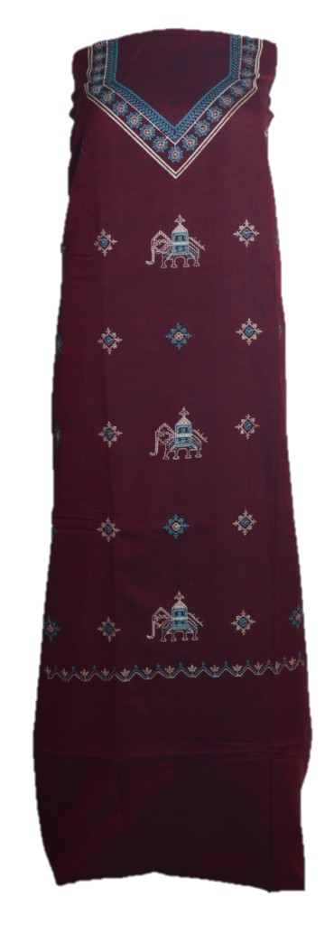 Kasuti Embroidered Pure Cotton Dress Material Dark Maroon : Picture
