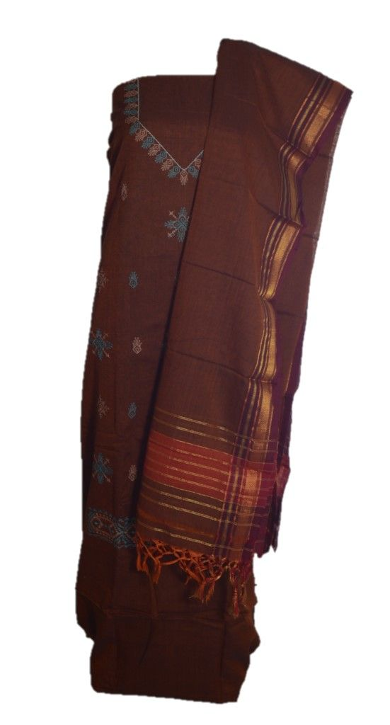 Kasuti Embroidered Pure Cotton Dress Material Soil Brown : Details