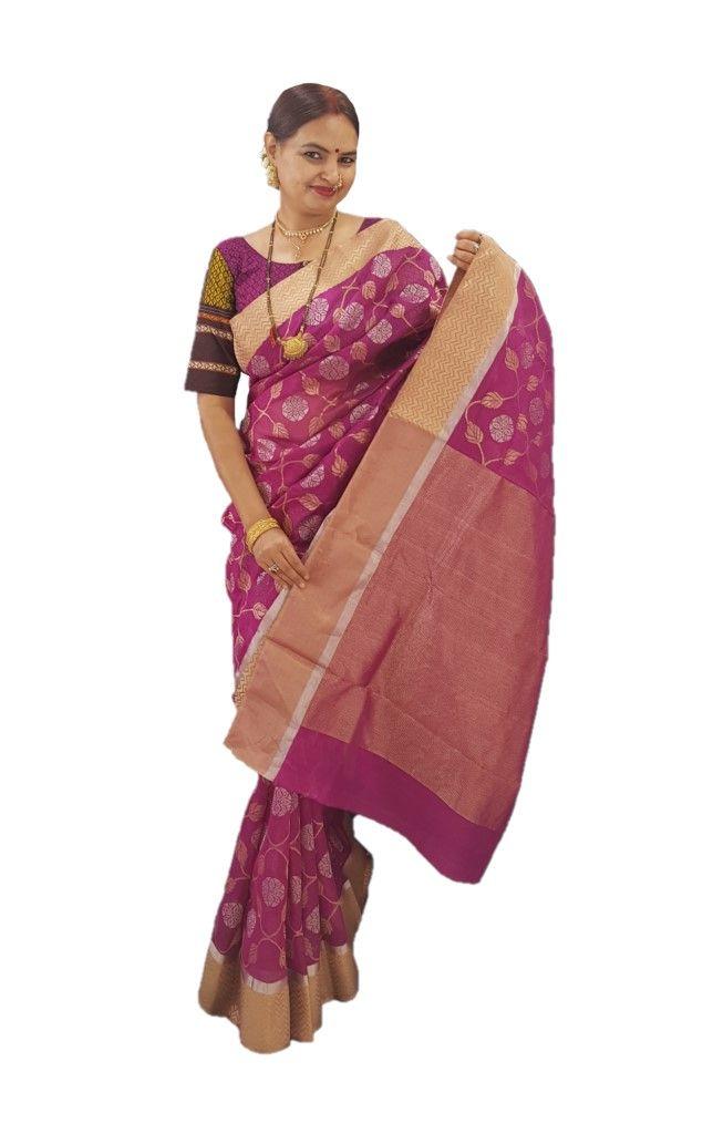 HandWoven Chanderi Pure Silk Jangla Work Saree Magenta : Details