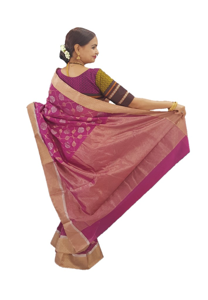 HandWoven Chanderi Pure Silk Jangla Work Saree Magenta : Picture