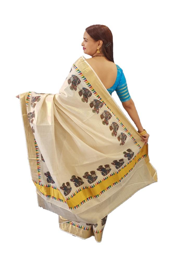 Kerala Kasavu Tissue Cotton Krishna Flute Mural Printed Saree OffWhite Gold : Picture