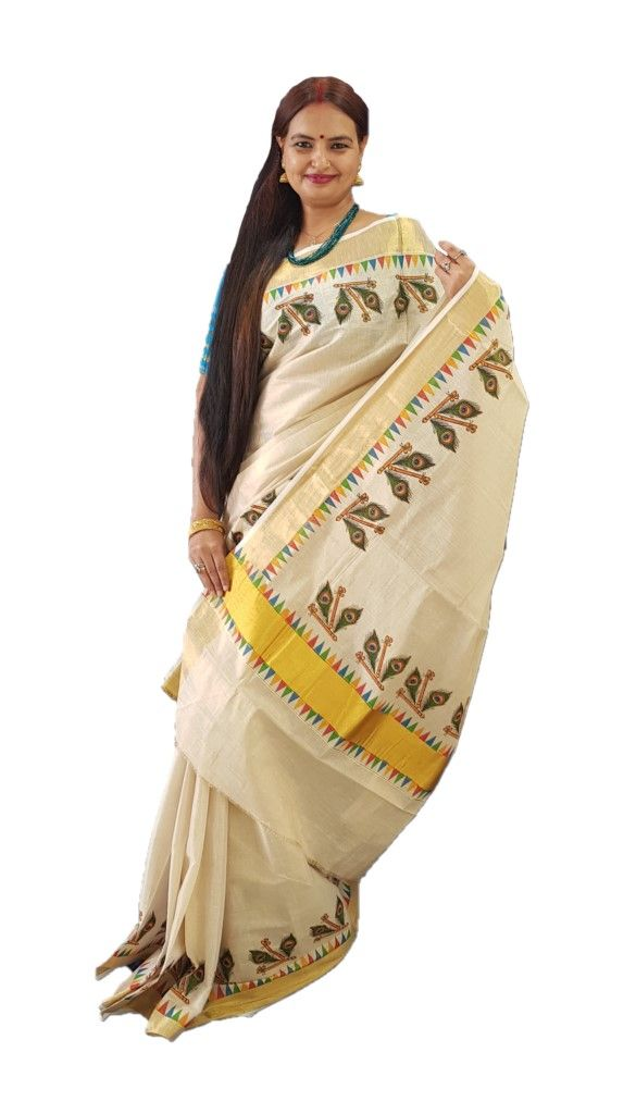 Kerala Kasavu Tissue Cotton Pair of Flute and Peacock Feathers  Mural Printed Saree OffWhite Gold  : Details