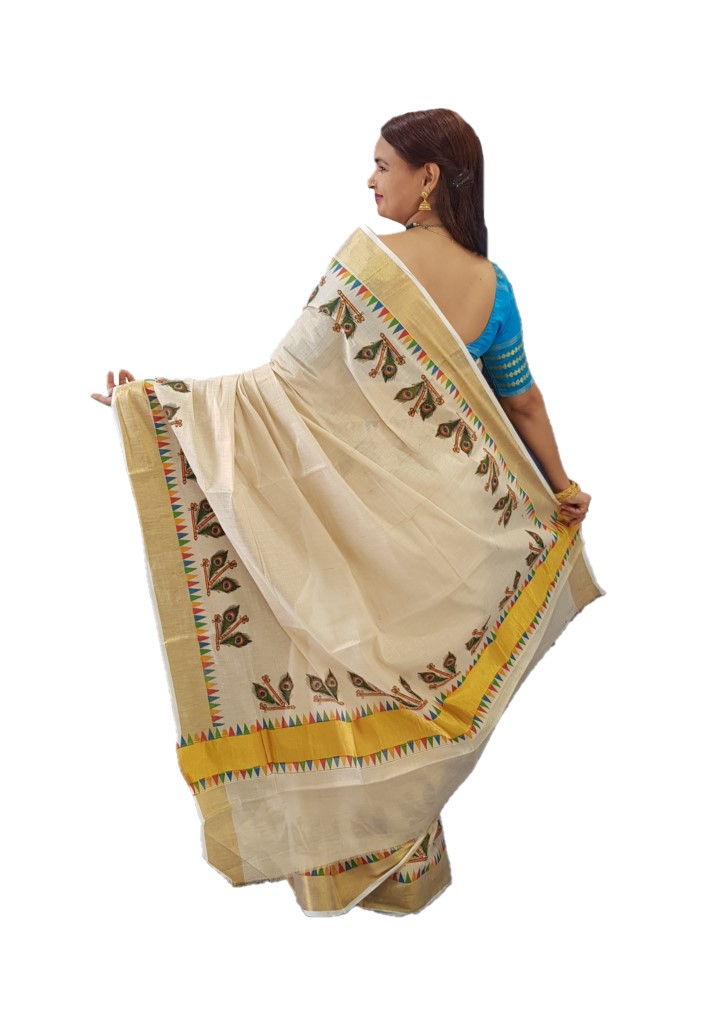 Kerala Kasavu Tissue Cotton Pair of Flute and Peacock Feathers  Mural Printed Saree OffWhite Gold  : Picture