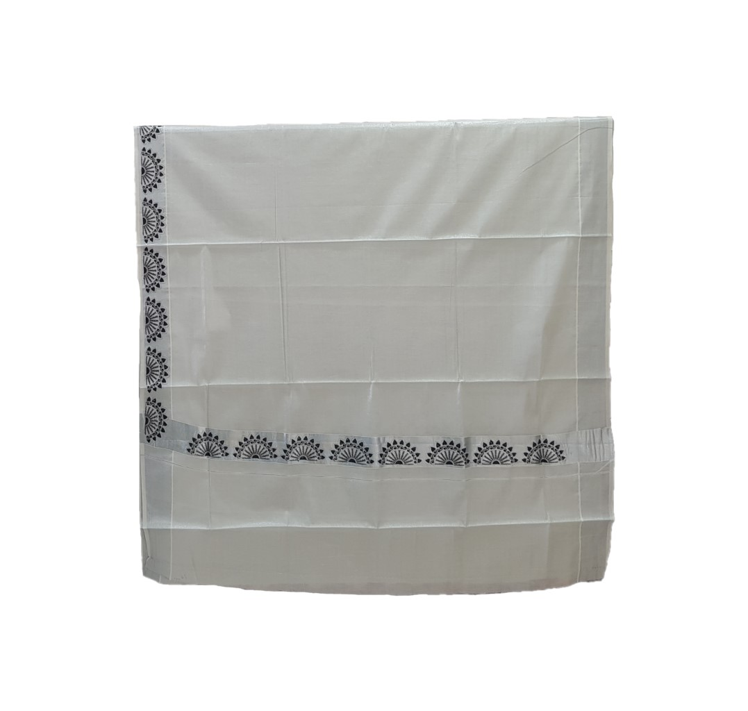 Kerala Kasavu Silver Tissue Cotton with Border Peacock Feather Embroidered Saree Silver Black : Picture