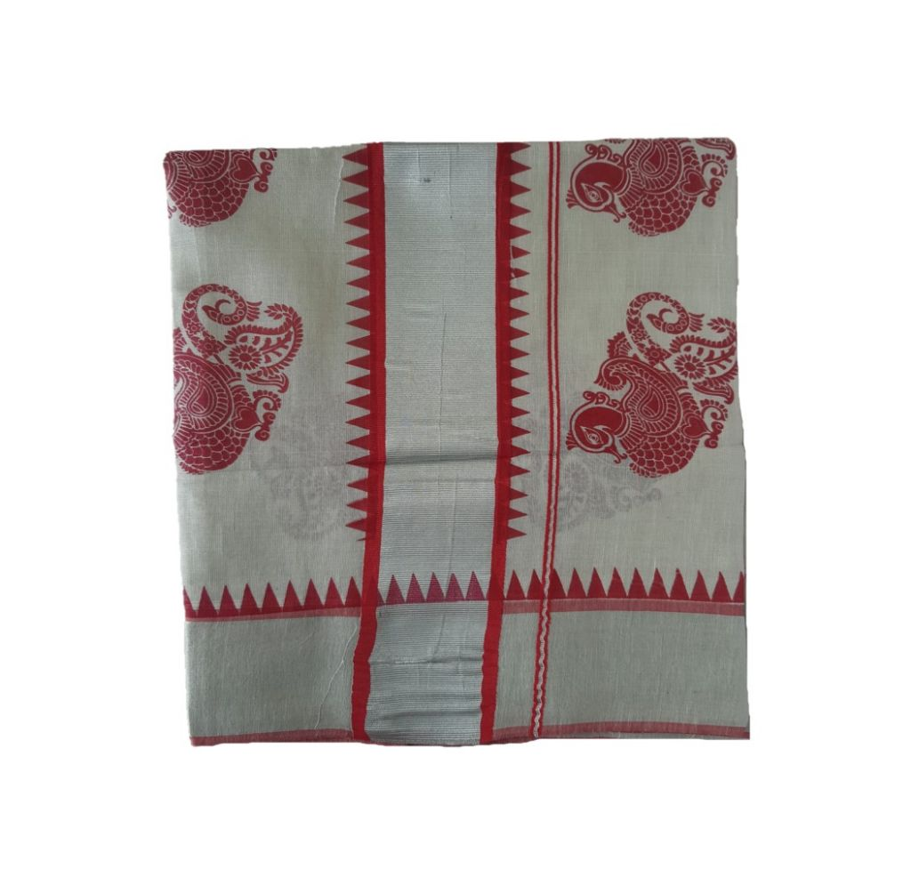 Kerala Kasavu Silver Tissue Cotton Saree with Peacock Feather Prints along Temple Border Silver Red : Details