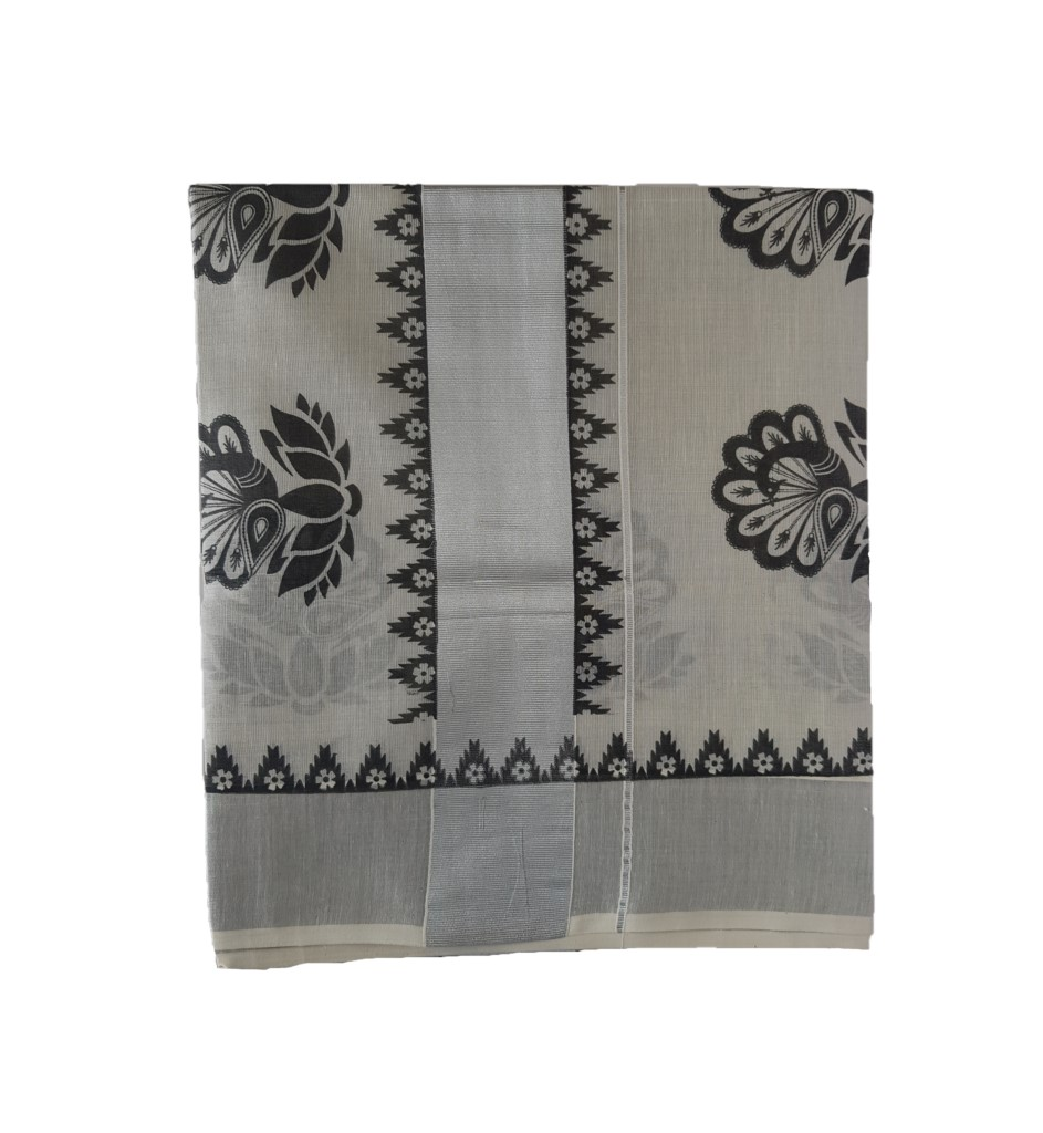 Kerala Kasavu Silver Tissue Cotton Saree with Peacock Feather Prints Silver Black : Picture