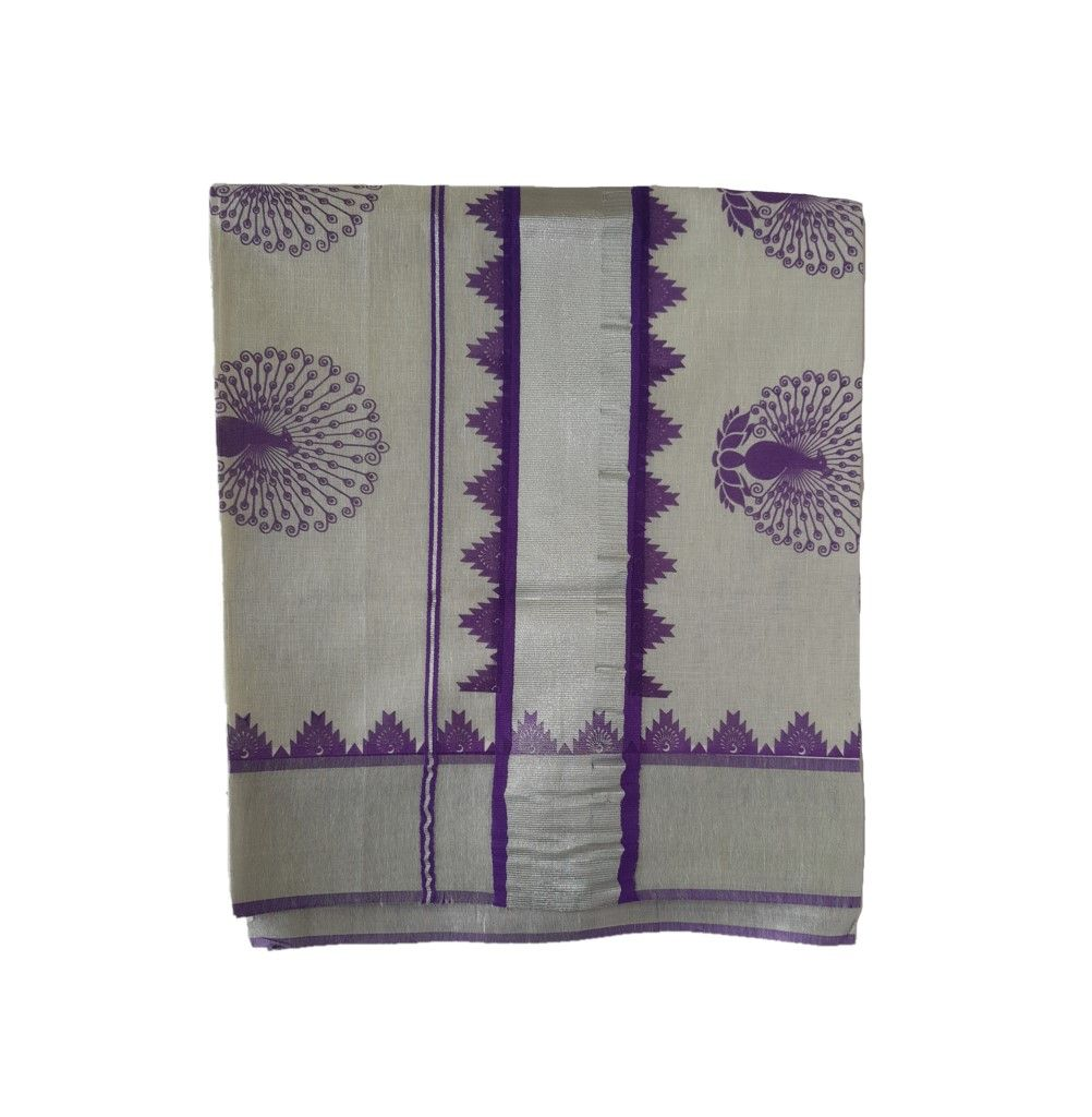 Kerala Kasavu Silver Tissue Cotton Saree with Peacock Feather Prints Silver Violet : Details