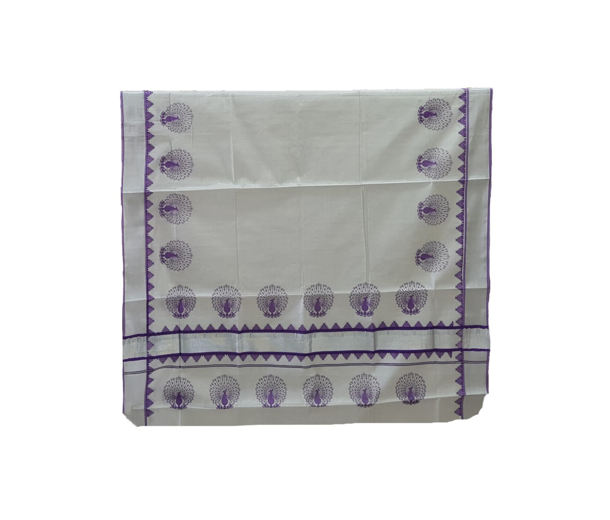 Kerala Kasavu Silver Tissue Cotton Saree with Peacock Feather Prints Silver Violet : Picture