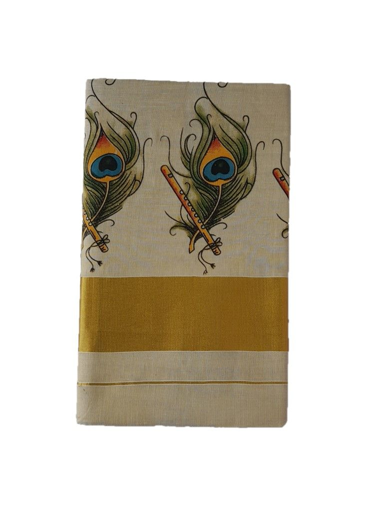 Kerala Kasavu Tissue Cotton Feather Flute Mural Printed Saree OffWhite Gold : Picture