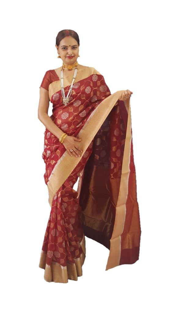 HandWoven Chanderi Pure Silk Jangla Work Saree Maroon : Details