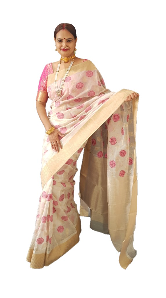 HandWoven Chanderi Pure Silk Jangla Work Saree White Pink : Picture