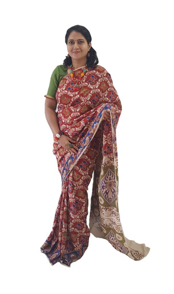 Kalamkari Print Cotton Silk Butterfly Design Saree Red Blue : Picture