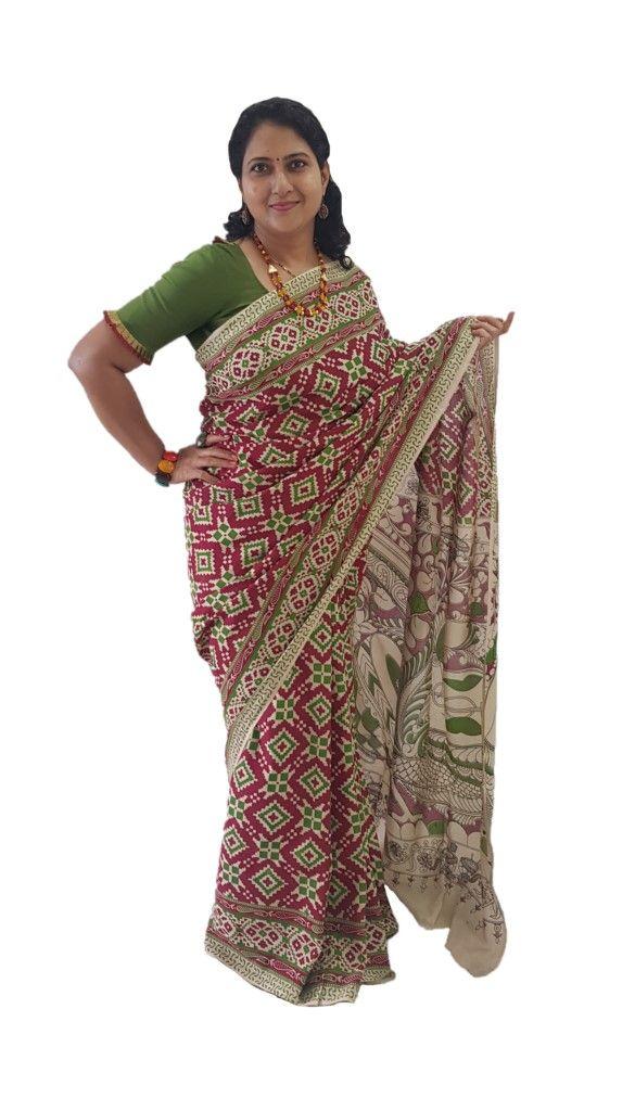 Kalamkari Print Cotton Silk Floral Geometric Design Saree Pink Green : Picture