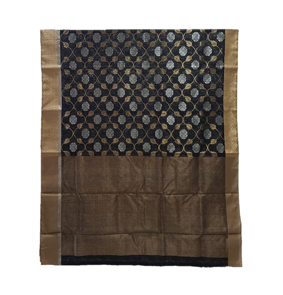 HandWoven Chanderi Pure Silk Jangla Work Saree Black : Picture