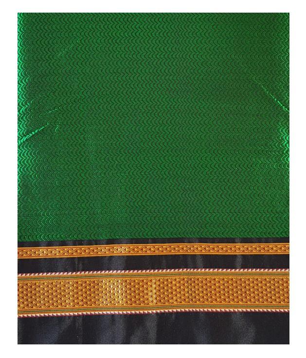 Ilkal Khun Fabric Lining Pallu Saree Green Black : Picture