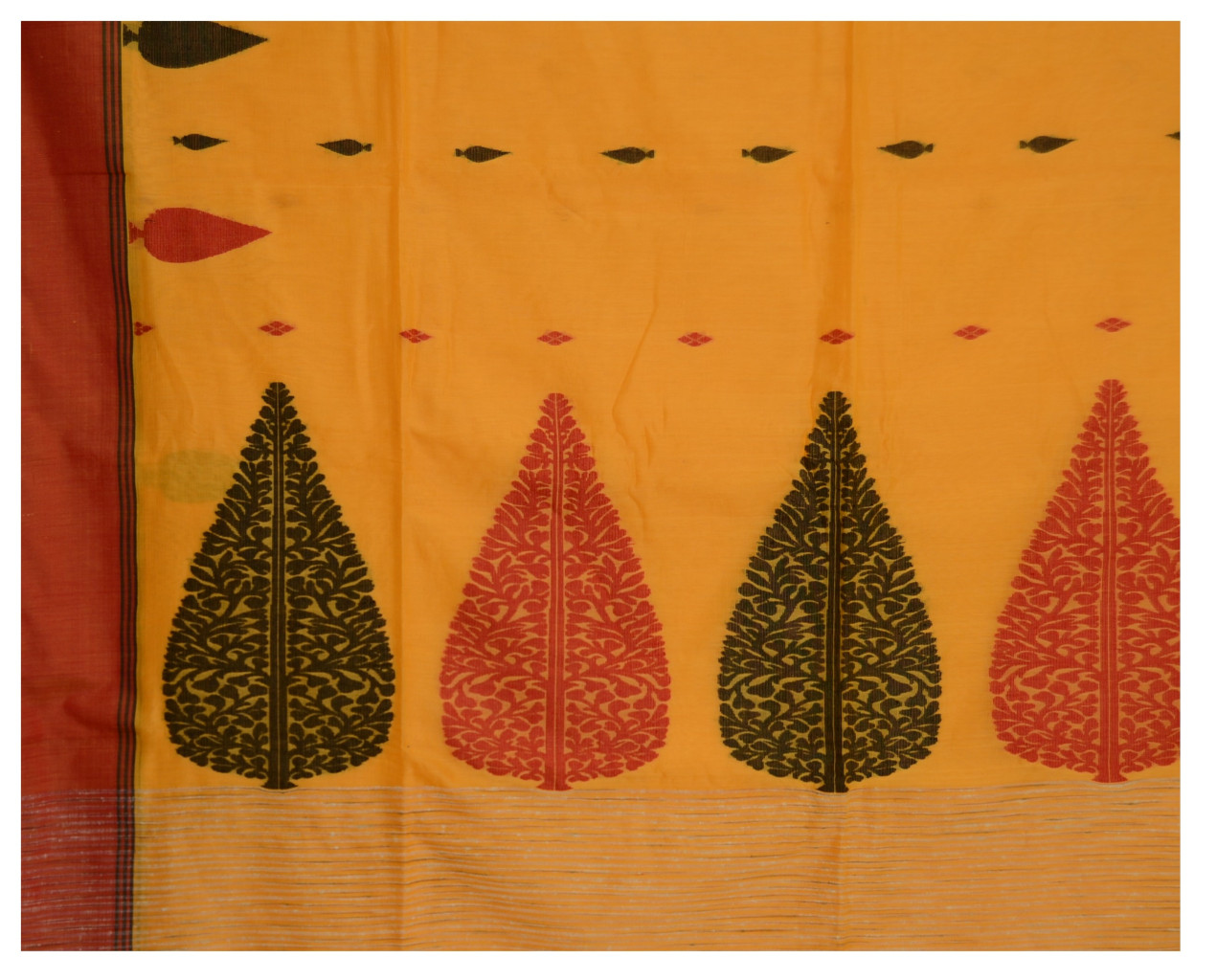 Bengal Handloom Pure Cotton Hand Embroidered Butta Work  Saree Mango Yellow : Picture