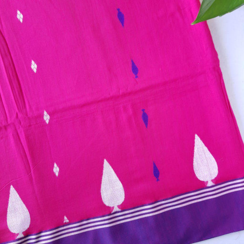 Bengal Handloom Pure Cotton Hand Embroidered Butta Work Saree Dark Pink : Details