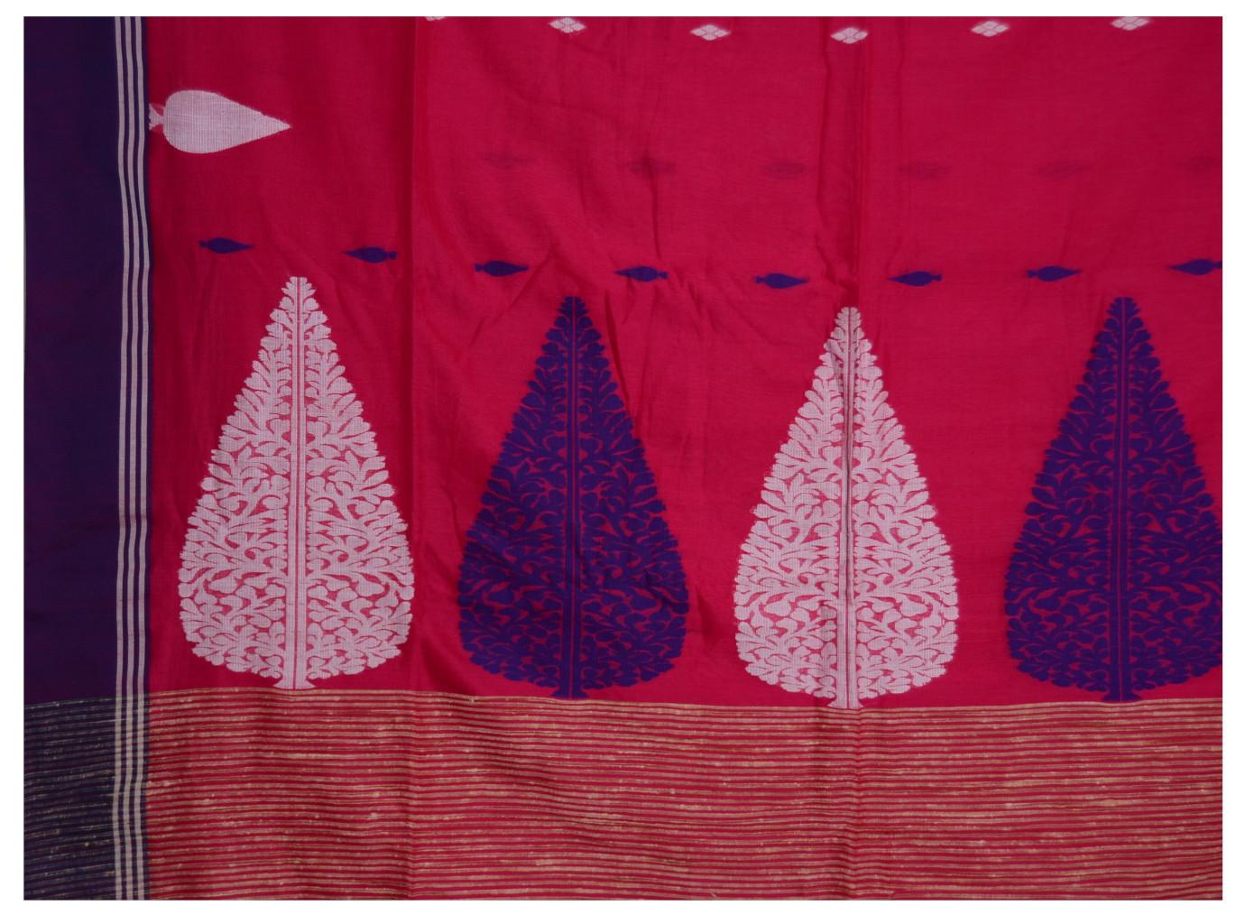 Bengal Handloom Pure Cotton Hand Embroidered Butta Work Saree Dark Pink : Picture
