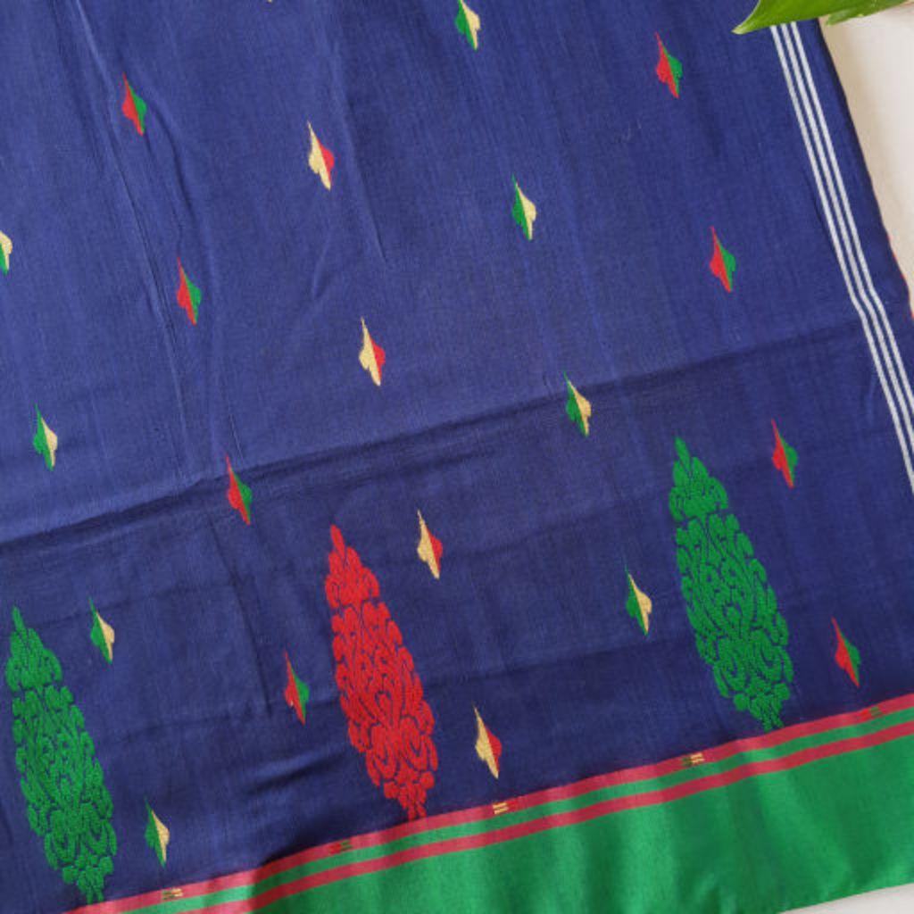 Bengal Handloom Pure Cotton Hand Embroidered Butta Work Saree Navy Blue : Details