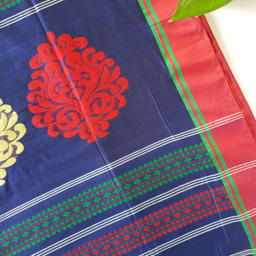 Bengal Handloom Pure Cotton Hand Embroidered Butta Work Saree Navy Blue : Picture