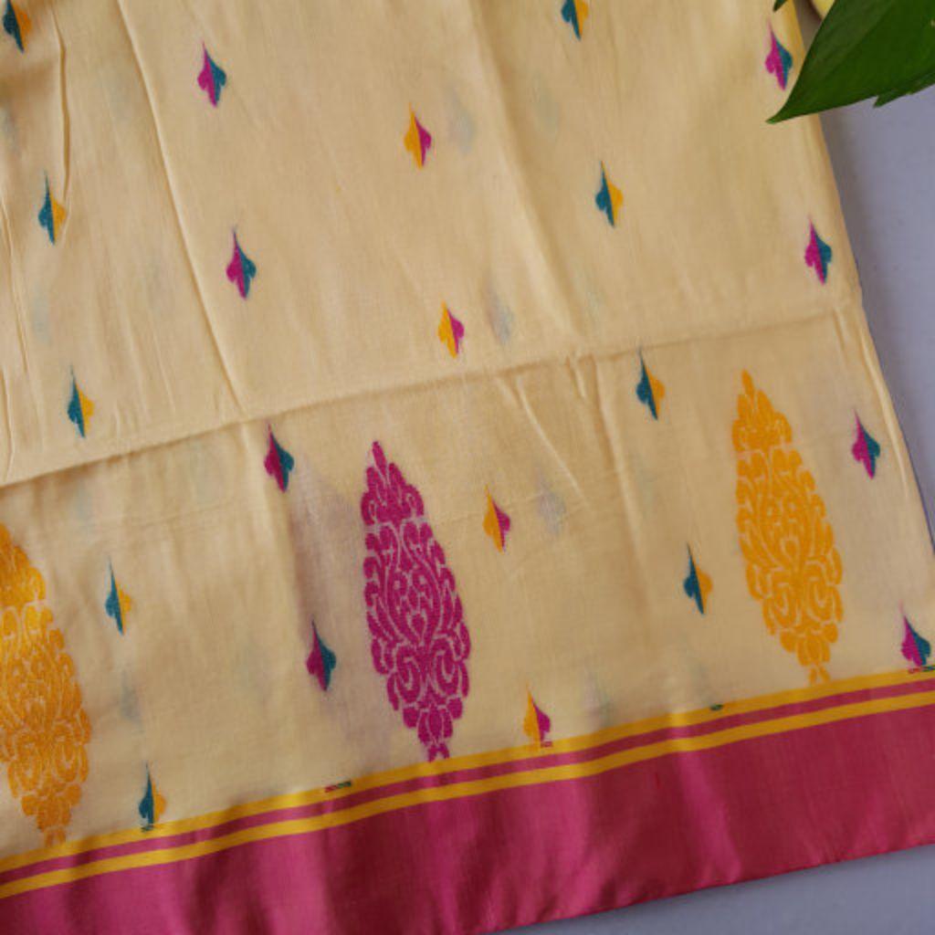 Bengal Handloom Pure Cotton Hand Embroidered Butta Work Saree Chandan Yellow : Details