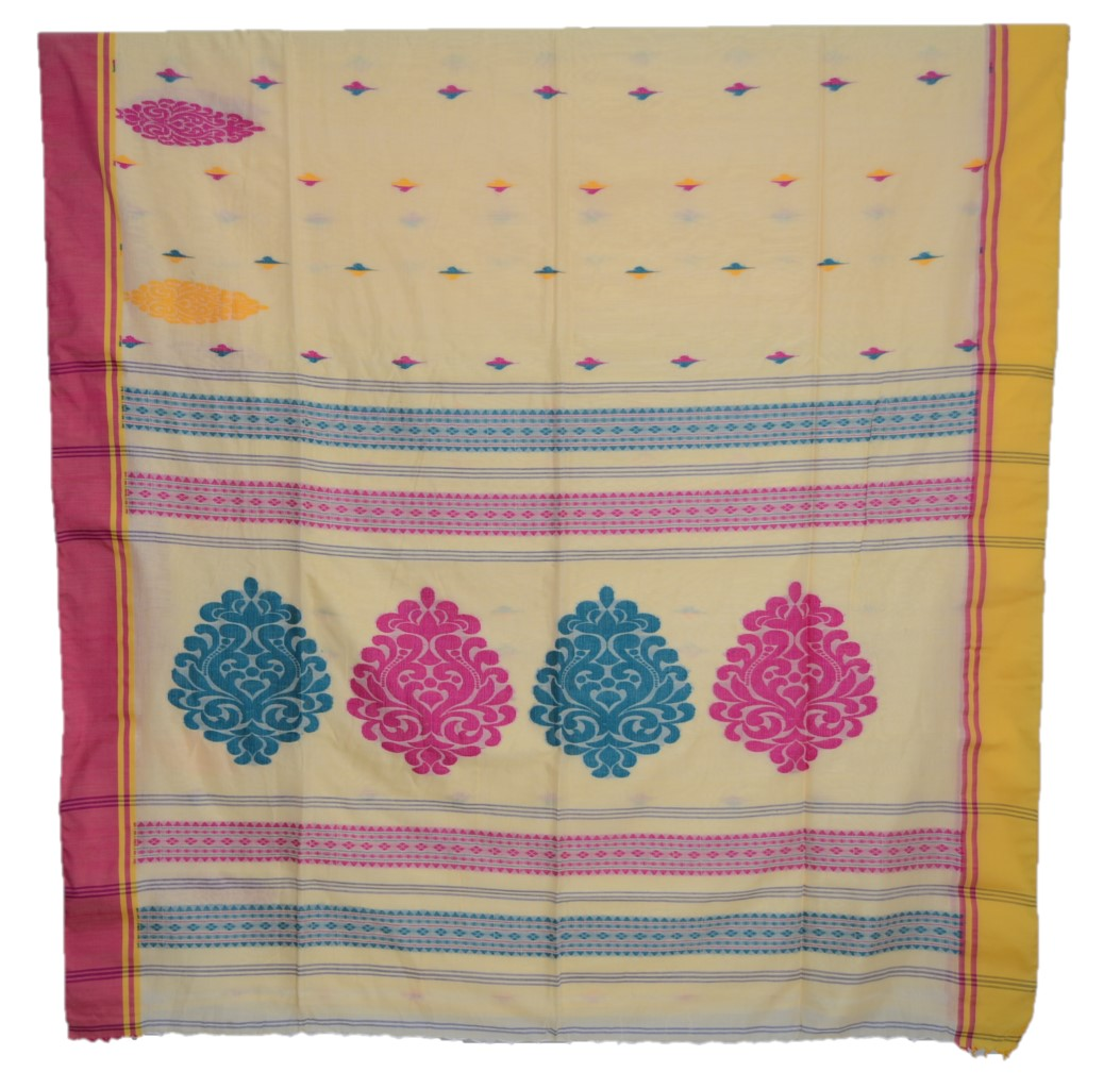 Bengal Handloom Pure Cotton Hand Embroidered Butta Work Saree Chandan Yellow : Picture