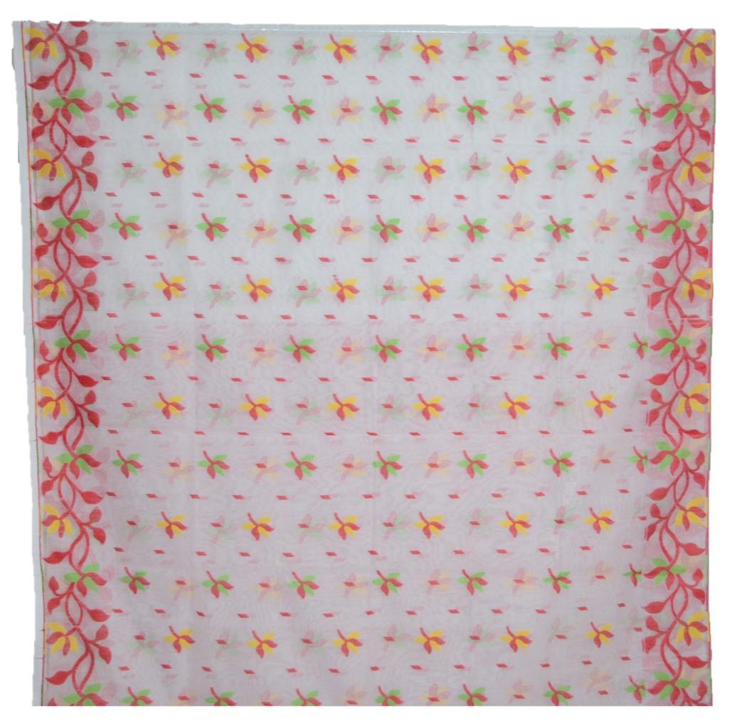Bengal Handloom Silk Cotton All Over Jamdani Saree White Red : Picture