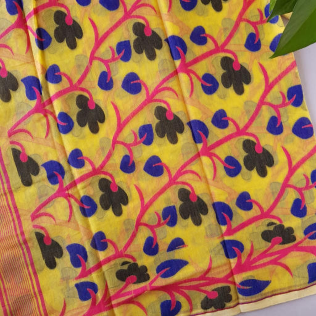 Bengal Handloom Silk Cotton All Over Jamdani Saree Yellow Pink : Details