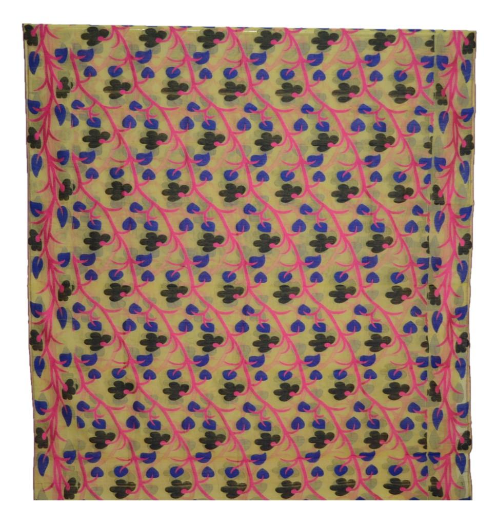 Bengal Handloom Silk Cotton All Over Jamdani Saree Yellow Pink : Picture