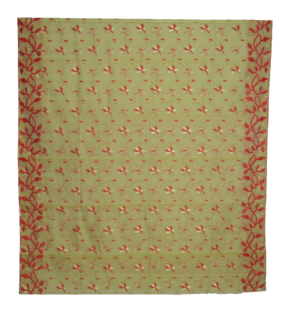Bengal Handloom Silk Cotton All Over Jamdani Saree Olive Green Red : Picture