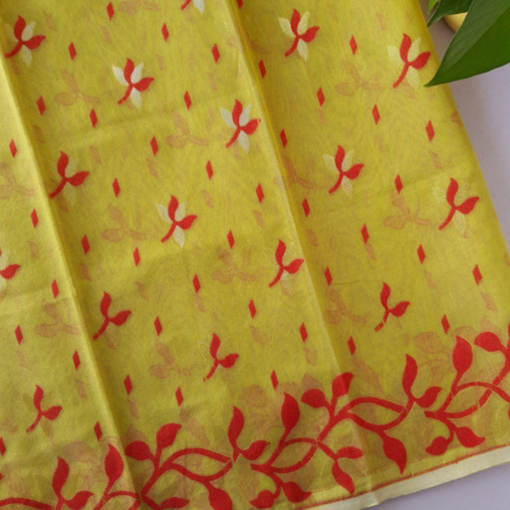 Bengal Handloom Silk Cotton All Over Jamdani Saree Olive Green Red : Details