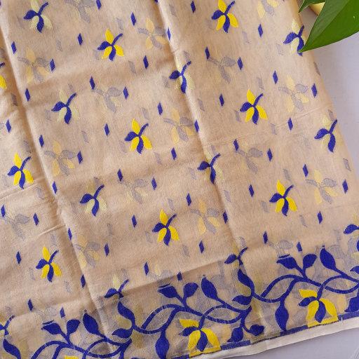 Bengal Handloom Silk Cotton All Over Jamdani Saree Coffee Brown Blue : Picture