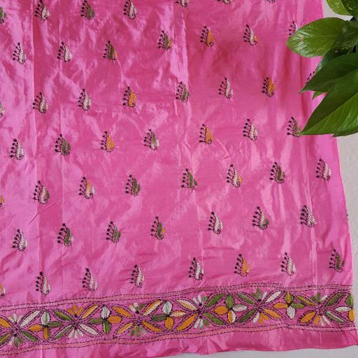 Bengal Loom Satin Silk Hand Stitched Kantha Work Saree Rose Pink  : Picture