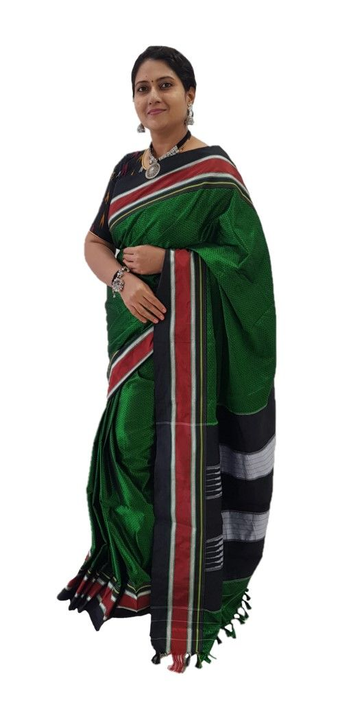 Ilkal Khun Fabric Resham Tope Pallu Saree with Big Border Green Black : Picture