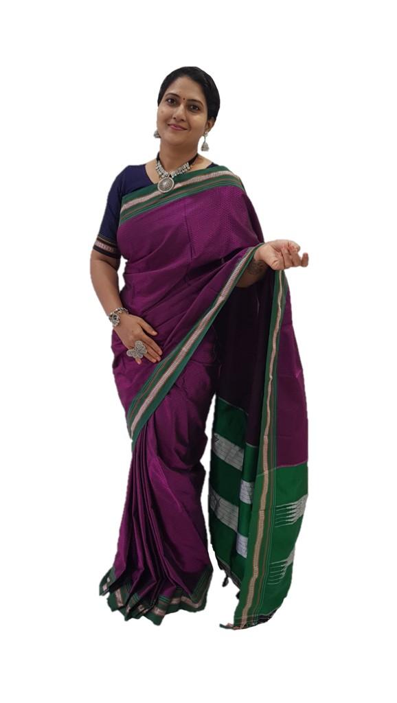 Ilkal Khun Fabric Resham Tope Pallu Saree with Big Border Magenta Green : Picture