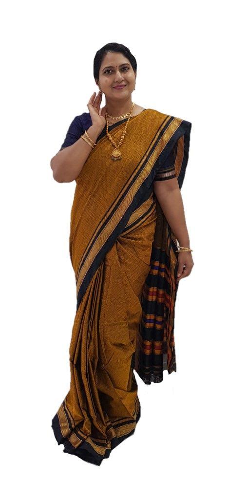 Ilkal Khun Fabric Lining Pallu Saree Copper Gold : Picture