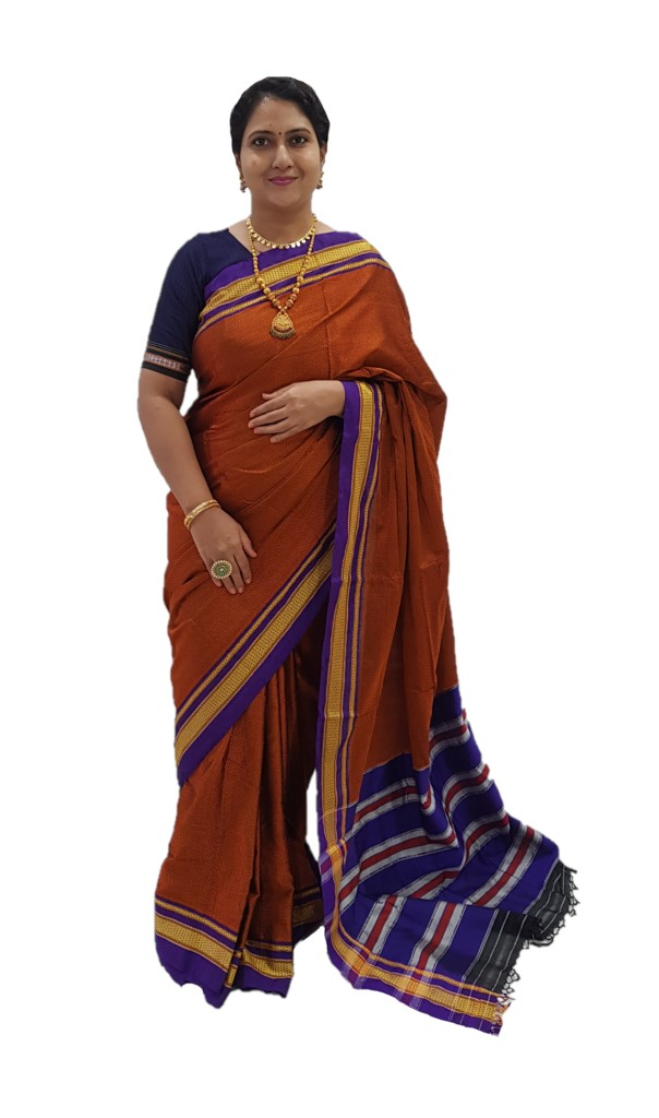 Ilkal Khun Fabric Lining Pallu Saree Copper Red with Violet Border : Picture